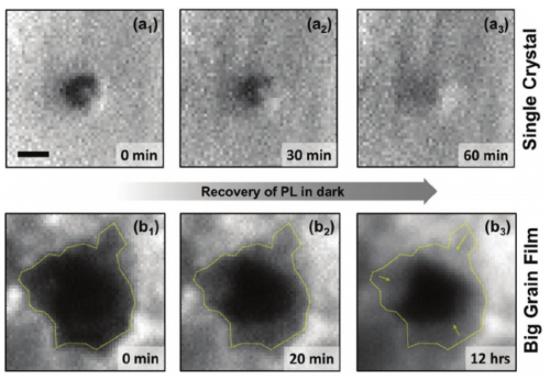 photoluminescence images showing the effect of grain boundaries