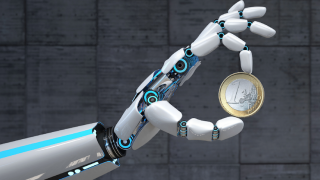 Robothand holds Euro-coin