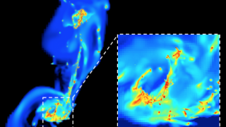 "Figure 1: Simulation of the encounter between two galaxies. The simulation demonstrates how the galaxies are deformed following their first encounter (left). The high-resolution simulations make it possible to conserve the finest details: the close-up (right) shows the density of the gas. Stars form in the dense regions (in yellow and red), as a result of ""compressive turbulence"". Star formation in these regions is more efficient than in the Milky Way. © CEA-SAp"