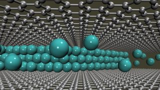 Cover image: The illustration shows multiple layers of lithium ions intercalated into two atom-thin sheets of graphene.